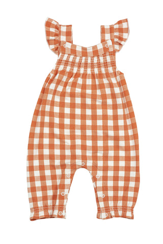 Gingham Pumpkin Smocked Front Coverall