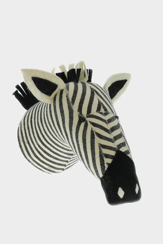 Stripe Zebra Head Wool Mount