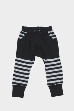 Black & Grey Stripe Kid Slouch Pants