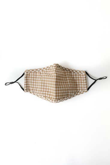 Khaki Gingham Adult Face Mask