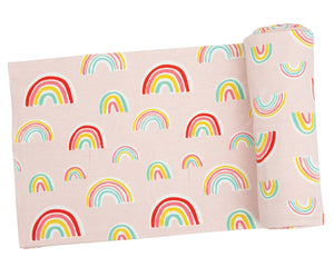 Pink Rainbows Swaddle Blanket