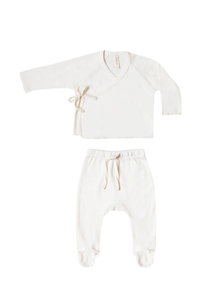 Ivory Kimono Top + Footed Pants Set