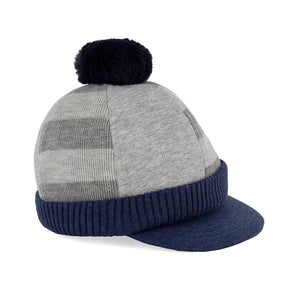 Blue/Grey Pom Hat