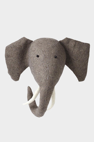 Elephant with Tusks Wool Mount