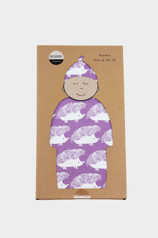 Newborn Gown & Hat Set- Purple Hedgehog
