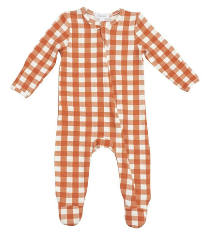 Gingham Pumpkin Zipper Footie