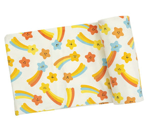 Orange Shooting Stars Swaddle Blanket
