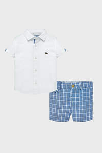 Blue Checked Linen Short Set