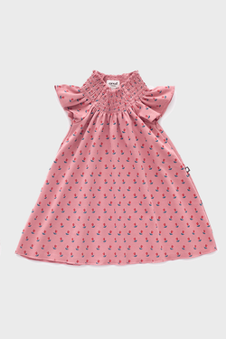 Dark Pink Tulips Smock Neck  Dress