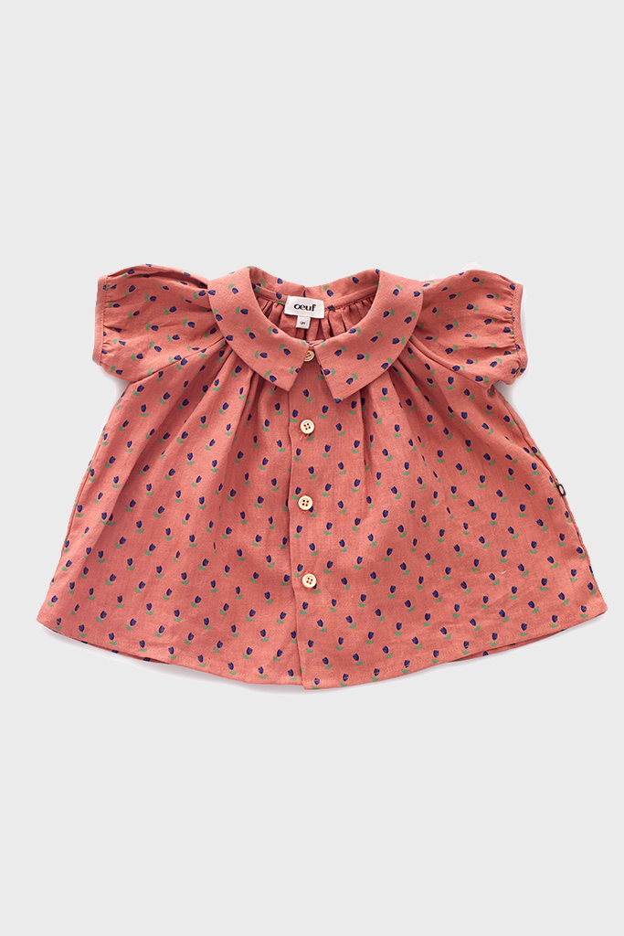 Rust Tulips Short Sleeve Blouse