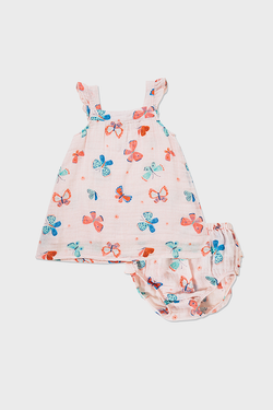 Pink muslin sundress and diaper cover set with colorful butterfly print for newborns to 24 month old girls