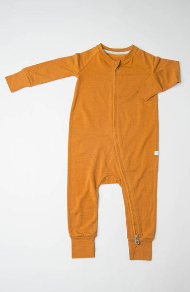 Ginger Honey Zip Footed Romper