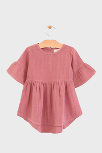 Rose Muslin Bell Sleeve Dress