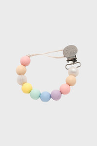 Color Block Silicone & Wood Pacifier Clip