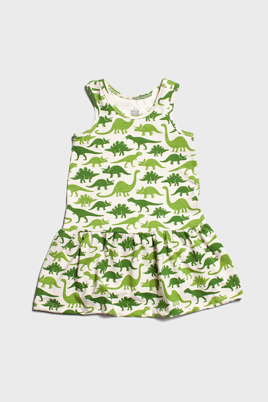Green Dinosaurs Valencia Dress
