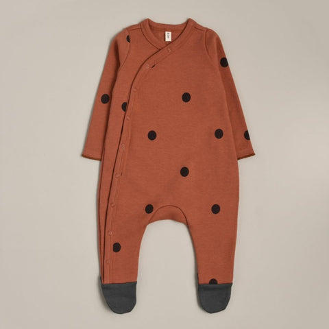 Earth Dots Romper with Contrast Feet