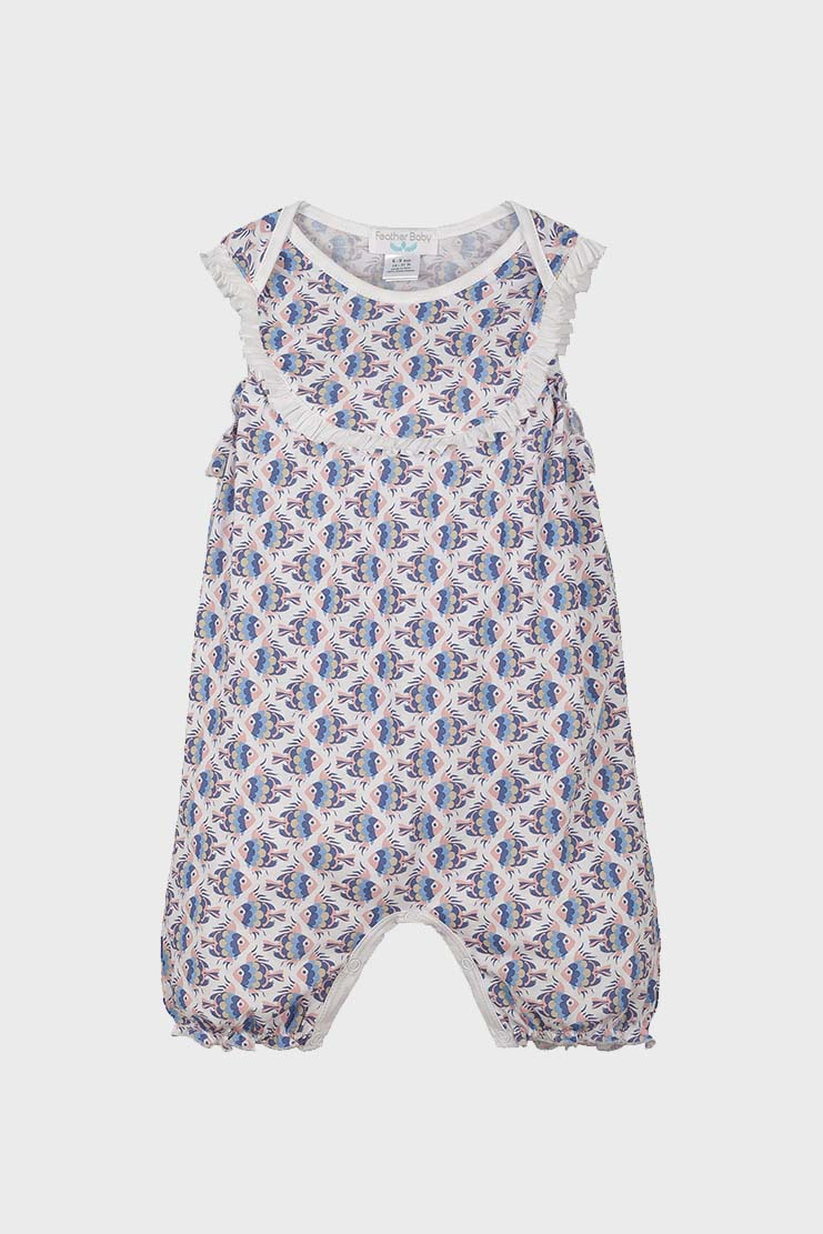 Fat Fish on White Yoke Romper