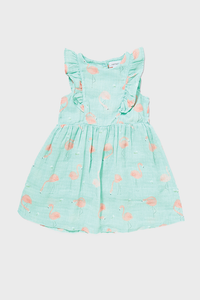 Flamingo Muslin Ruffle Sundress
