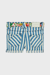 Floral & Blue Striped Baby Shorts