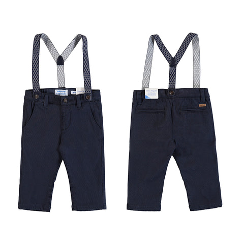 Navy Chino Suspender Baby Pants