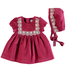 Pink Velvet Dress with Bonnet