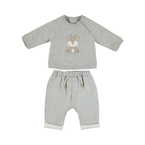 Check Pants and Baby Deer Pullover Set