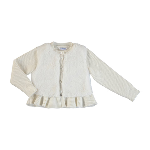 Cream Furry Knit Sweater