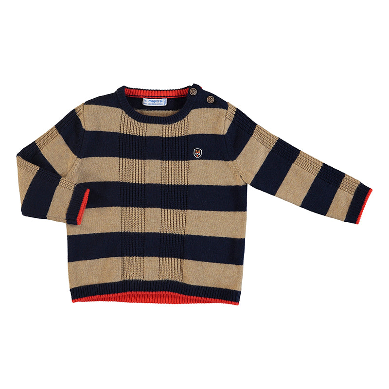 Almond & Navy Striped Sweater