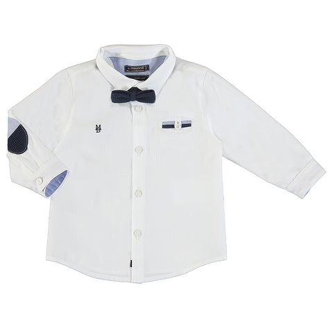 Elbow Patch Dress Shirt with Bowtie