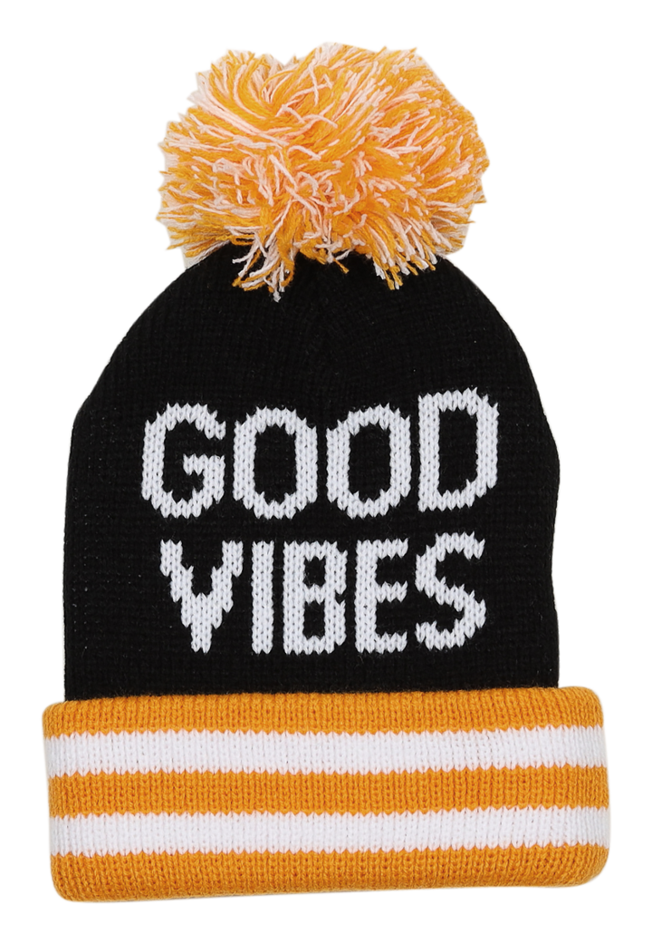 Good Vibes Pom Pom Beanie 2-5 years