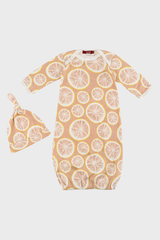 Newborn Gown & Hat Set- Grapefruit