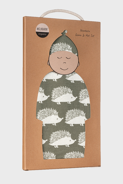 Newborn Gown & Hat Set- Grey Hedgehog