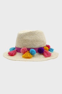 Talulah Hat  with colorful pom pom