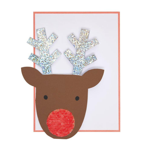 Sequin Nose Reindeer Card