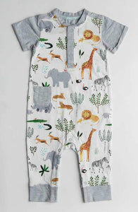Safari Jungle Short Sleeve Romper