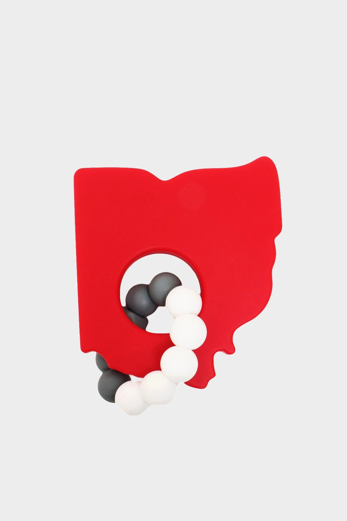 Silicone Ohio Teether- Red & Grey