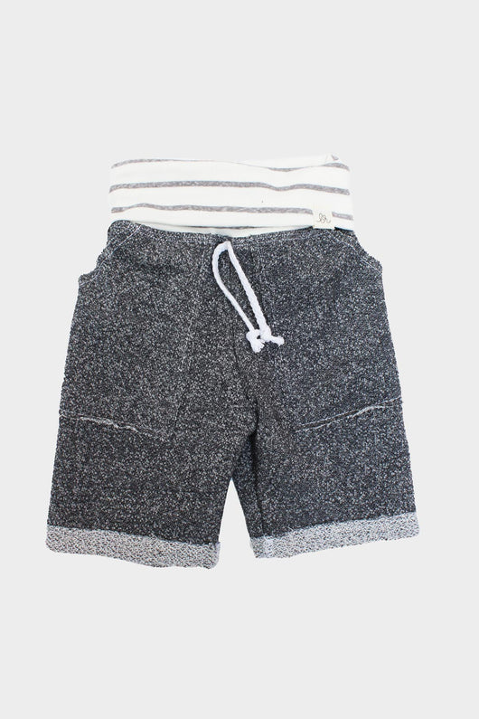Grey & Coastal Stripe Boy Shorts