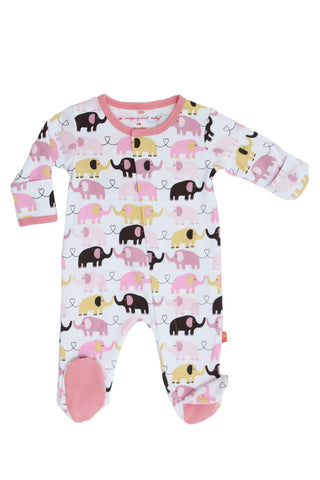 Pink Elephant Footed Romper