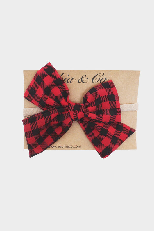 Red Gingham Suzy Bow Headband