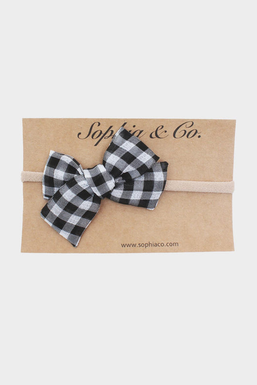 Mini Black Gingham Suzy Bow Headband