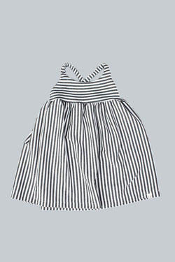 Kid Grey Stripe Cross Back Dress