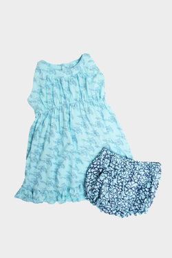 Indigo Mint Dolphin Dress & Bloomer Set