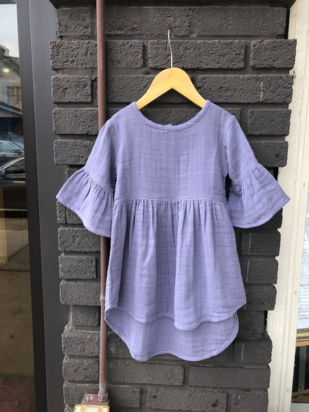 Periwinkle Muslin Bell Sleeve Dress