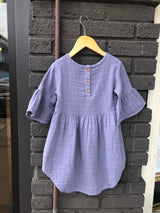 Periwinkle Muslin Bell Sleeve Baby Dress