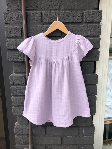 Lilac Lace Sleeve Muslin Baby Dress