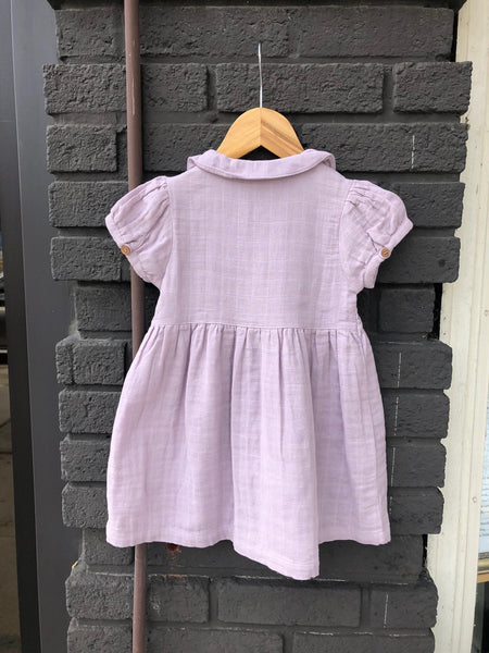 Lilac Muslin Button Baby Dress
