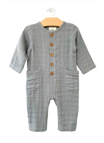 Stillwater Blue Muslin Pocket Romper