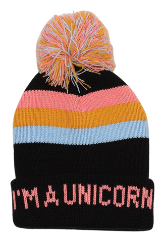 Unicorn Pom Pom Beanie 2-5 years