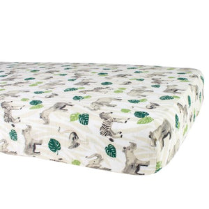 Jungle Muslin Crib Sheet