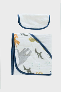 Dino Friends Hooded Towel & Wash Cloth Set